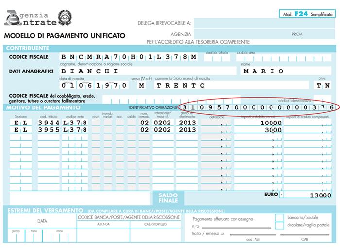 Indicazione del codice identificativo pagamento sul modello F24 TARES 2013